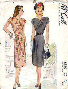McCall 6850 Vintage 1947 V Neck Wrap Bodice Dress Pattern Side Shoulder and Skirt Pleat by sydcam123