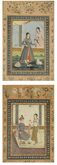 TWO ILLUSTRATED LEAVES FROM AN ALBUM, BOTH SIGNED KAMTARIN MOHAMMED IBN KHODDADAD, ZAND, PERSIA, DATED A.H. 1204/A.D. 1789 gouache heightened with gold on paper, laid down on stout paper, margins ruled in gold, borders of scrolling foliate motif in colours, margin with floral sprays, birds and butterflies, one miniature inscribed with 'majlis homayum padshah' identifying the scene, both with signature and the date 12(0)4,