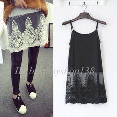 ea5ead57d79 Camisole Long Tank Dress Slip Top Extender Lace Trim Layering Vintage Shirt  Plus  Unbranded