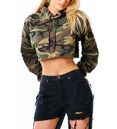 Women's Camouflage Hoodie Long Sleeve Hooded Pullover Sweatshirt Crop Tops Cropped Sweat Tops Jumpers (Multi-Color, Tag M(UK - United Kingdom Shopping Website Camo Outfits, Crop Top Outfits, Cute Casual Outfits, Sport Outfits, Crop Top Hoodie, Cropped Hoodie, Camo Hoodie, Camouflage Sweatshirt, Mode Camouflage