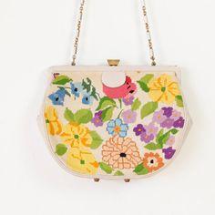 Floral Crewel  Leather Bag