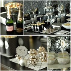{Easy Entertaining} Black and White New Year's Eve Party | High/Low Food/Drink