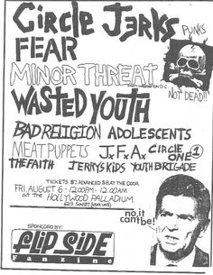 circle jerks, minor threat, bad religion, meat puppets, youth brigade
