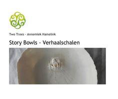 Foto's van schalen in porselein of keramiek met een verhaal, verhaalschalen of story bowls veelal in opdracht gemaakt door Annemiek Hamelink. Zij verkoopt haar creaties onder de naam Two Trees