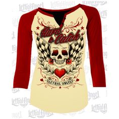 Play Hard To Catch with our unique Raglan sleeve🖤 Show off your curves⌛️with this shirt! #lethalangel #raglansleeve #cremecolor #redsleeve #baseballshirt #hardtocatch #skull #flag #heart #LA20441 #flowers #availablenow #instock #website #curveygirl #womenshirt #womensapparel #lethalangelbrand