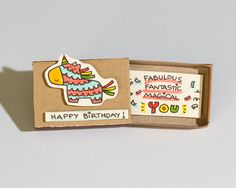Cute Birthday Card / Piñata Birthday Card/ Matchbox/ by shop3xu