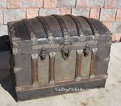 Antique Treasure Chest Dome Top Gypsy Wagon Steamer Travel Trunk For Sale #antiquechests