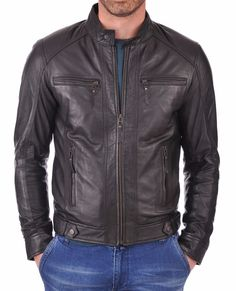 New Men's Genuine Lambskin Leather Jacket Black Slim fit Motorcycle jacket #AriesLeathers #Motorcycle