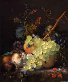 Jan van Huysum - Still-life of grapes and a peach on a table-top