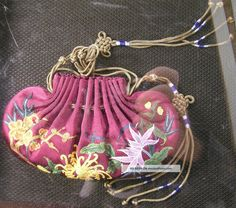 Fine Purple Chinese Silk Embroidered Tassel Pendant Pouch Purse In Wood Display Robes & Textiles photo