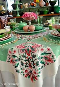 tablescapes paisley - quilted tablecloth