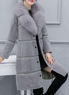 9080d13582d2c Long Sleeve Lapel Pockets Unremovable Fur Collar Coats - Floryday    floryday.com Jacket Dress