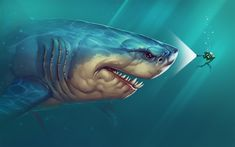 Megalodon says hi! by ArtByElde on DeviantArt Deep Sea Creatures, Weird Creatures, Creature Drawings, Animal Drawings, Scary Ocean, Mega Shark, Hai Tattoos, Shark Games, Shark Pictures