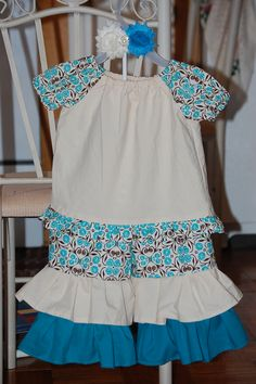 Double Ruffle pants with peasant shirt and matching shabby headband