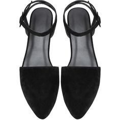 Black Point Toe Ankle Strap Suede Flats (26 CAD) ❤ liked on Polyvore featuring shoes, flats, black, suede pointed toe flats, flat pumps, pointed-toe flats, black shoes and black suede flats