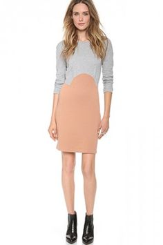 Carven colorblock long sleeve dress | Shopbop