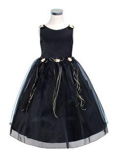 Black Elegant Satin Bodice Flower Girl Dress - Flower Girl Dresses - GIRLS