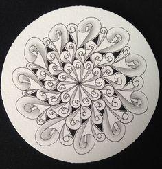 這是美華(damy)投稿的第二十二個圖樣  Zentangle pattern - EDDYPER  渦線是人類很自然就會畫的線條,  加上往一點集中的射線後,就產生了立體感,像一張捲起來的紙張一樣,