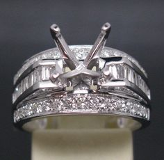 Hot Princess Cut Solid 14k White Gold Diamond Semi Mount Setting Engagement Ring #diamondmounts