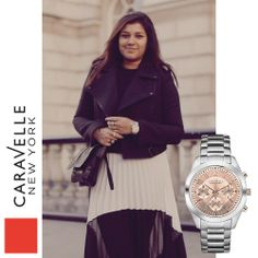 Bonnie wears our Silver-Tone 45L143 watch, out this spring! #Fashion #LFW #StreetStyle #Silver #Caravelle