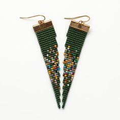moses // loom beaded earrings // emerald and por PigmentProject