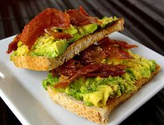 Avocado toast. I would modify this two ways Skip the olive oil  Skip the pruschetto and have a chicken sausage patty on the side.