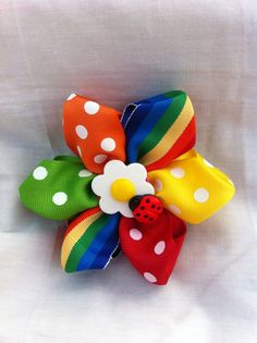 Grograins Ribbon  flower headband or clip accented with a button daisy and ladybug.