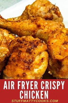 Air Fryer Crispy Fried Chicken Recipe This Airfryer Crispy Chicken Recipe is crunchy and delicious. Whether you use chicken legs, chicken thighs or chicken quarters this Airfryer Chicken Recipe make a great tasty quick dinner for the whole family. Air Fryer Recipes Low Carb, Air Fryer Recipes Breakfast, Air Fryer Dinner Recipes, Breakfast Cooking, Air Fryer Fried Chicken, Air Fried Food, Air Fry Chicken, Air Fryer Recipes Chicken Wings, Air Fryer Chicken Thighs