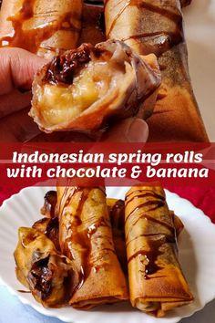 Eggless Desserts, Vegan Dessert Recipes, Best Vegetarian Recipes, Delicious Vegan Recipes, Asian Desserts, Chinese Desserts, Chinese Food, Banana Spring Rolls, Vegan Chocolate