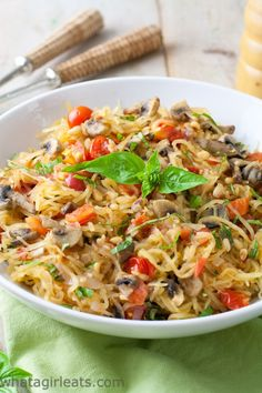 Whole30 Tomato Mushroom Spaghetti squash with basil. Vegan and gluten free!