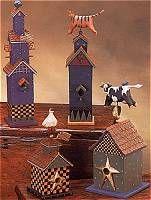 WW4201, WW4202, WW4206, WW4203 bluebird, three story birdhousehouse, tri-level, American flag, weathervane, orange cat, striped, tabby, red brick, heart, trees, triangles, stars, goose, gooser, gooser house, checkered birdhouse, checkered birdhouse with goose, weathervane, flag, gold ball, star, thatch roof, cow