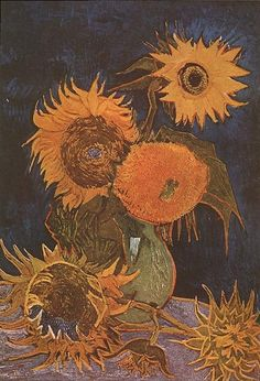Still Life: Vase with Five Sunflowers, 1888, Vincent van Gogh. Sadly, this painting was destroyed by fire in the Second World War.
