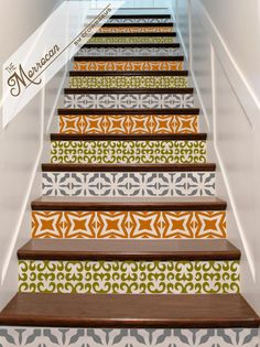 Vinyl Stair Decals   Riser U0027Tilesu0027 . Staircase Decal Stickers . The  Moroccan   Stair U0027Tileu0027 Decor Id