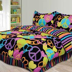 Peace Sign Bedding For Girls | BLACK PEACE SIGN Full Size Comforter Teen Girl Bedding Set *New In ...