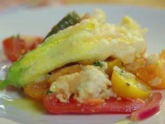 Ricotta-Stuffed Zucchini Blossoms with Panzanella Recipe : Anne Burrell : Recipes : Food Network