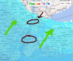 Odotettavissa la-aamuna 09 SUOMEN aikaa. Vuosisataisen lumimyrskyrintaman etenemissuunta (vihreet nuolet) Meidän hotelli (ympyröity ja nuolella). New York (ympyröity) #tembustravels