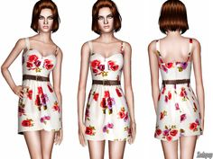 Belted Peony Print Dress by Zodapop - Sims 3 Downloads CC Caboodle