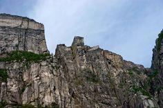 Looking up at Pulpit Rock - Preikestolen - photo by Miguel Angel Barroso Lorenzo