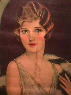1930-SELZ-YARDLONG-PRINT-BEAUTIFUL-LADY-FUR-STOLE-EARL-CHRISTY-METAL-BANDS