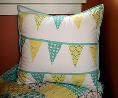Bunting pillow cover from Cicada Daydream. Everyone could use a little more bunting in their lives.