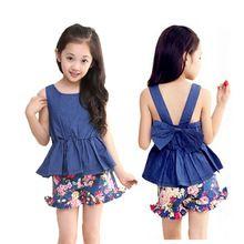Девушки одежду комплект одежды джинсовый жилет + цветочный короткие 2016 летний стиль одежды новое поступление детская одежда размер 5 - 13(China (Mainland))