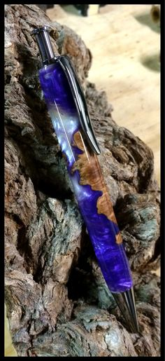 Beautiful figured wood Ballpoint Click Pen - purple resin and burl wood - Gift for Doctor