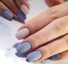 Beige blue nails, Classic nails ideas, Geometric nails, Matte nails, Nails ideas… - All For Hair Color Trending Summer Nails 2018, Spring Nails, New Nail Colors, Manicure Colors, Gel Manicure, Beige Nails, Blue Matte Nails, Yellow Nails, Square Nail Designs