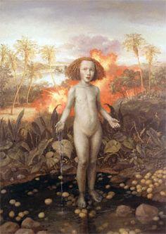 """Julie Heffernan, """"Self-Portrait as Infanta on  Eggshells,"""" 1999, oil on canvas, 68 1/2 x 49""""."""