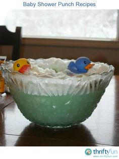 This page contains baby shower punch recipes. A fun punch and bowl decoration can be made for a special party.