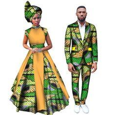 Women Dresses and Men's Blazer Set Ankara Women African Print Clothing Dashiki