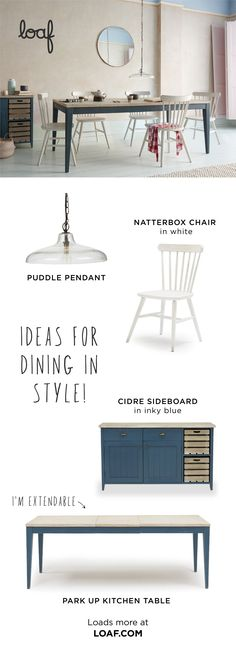 Ideas for dining in style. How many bums do you need to park? 8 or Our extendable Park Up table does the lot. We love its inky blue legs and vintage-y parquet top. Living Room Colors, Living Room Decor, Bedroom Decor, Dining Room, Interior Design Kitchen, Interior Design Living Room, Table Extensible, Making Ideas, Diy Home Decor