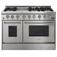 AGA Professional 48-in 6-Burner 4.2-cu ft/2.5-cu ft Double Oven Convection Gas Range (Stainless Steel)