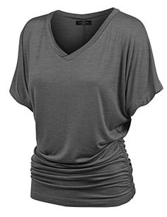 MBJ V Neck Short Sleeve Dolman Top with Side Shirring XXXL HEATHER_CHARCOAL Made By Johnny