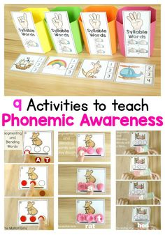 Phonemic Awareness is such an integral part to reading and writing. Unfortunately, many teachers skip over teaching this, but the truth is that it's just as important as learning phonics! Check out these 9 hands-on ways to help children learn to segment Emergent Literacy, Kindergarten Literacy, Early Literacy, Literacy Centers, Reading Games For Kindergarten, Reading Activities, Learning Phonics, Phonics Activities, Teaching Reading